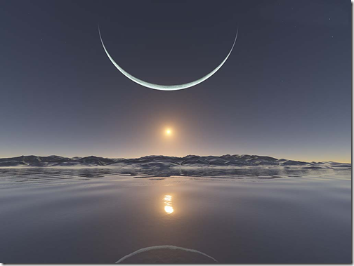 Moon and Sun Over North Pole