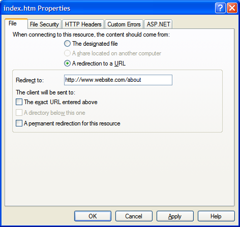 Redirecting a Page in IIS