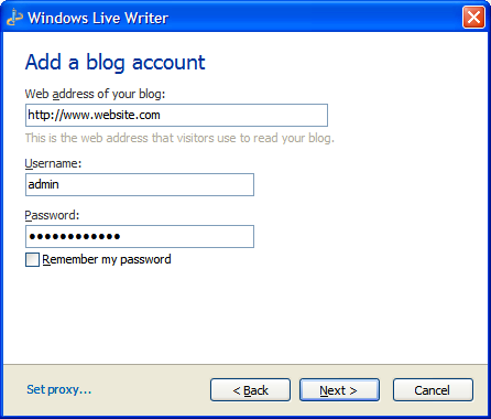 Adding Joomla Account to Windows Live Writer