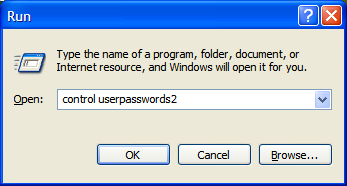 Starting control userpasswords2.