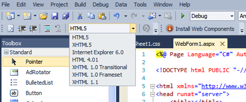 HTML 5 Validation in Visual Studio 2010.