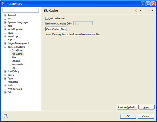 Clearing cached files in Eclipse.