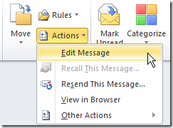 Editing an Outlook 2010 E-mail.