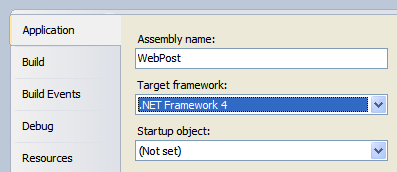 Setting Target Framework in project properties.