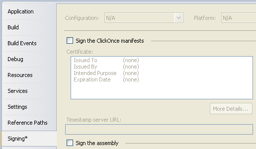 Turning off ClickOnce for a Visual Studio project.